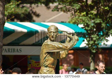 Statue Of Jacques Brugnon, Place Des Mousquetaires At Roland Garros