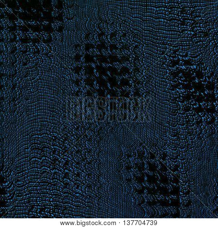 Grunge blue background with a metallic effect. Twisted futuristic space. Shabby torn collapsing space