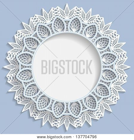 3D round frame vignette with 3D flower frame vignette with ornaments lace frame bas-relief frame festive pattern white pattern template greetings vector