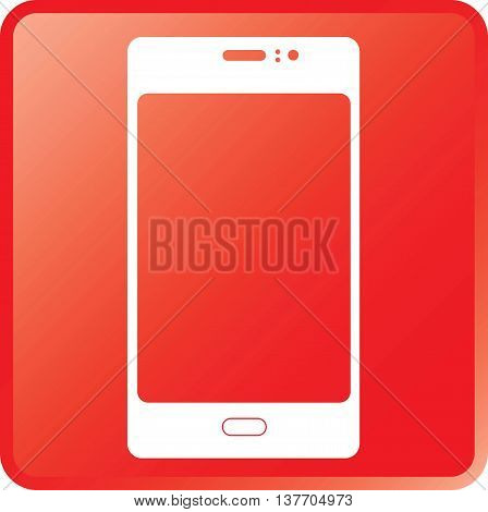 Vector Smartphone Concept Icon White on Red Button