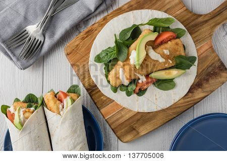 Fish Finger Wraps With Avocado And Tomato