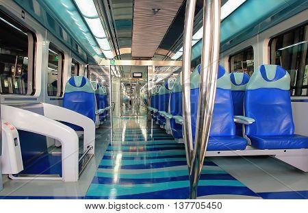 Cabin metro train train interior subway subway train cabin inside the car soft focus