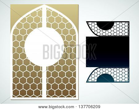 Vector laced gate. Laser Cutting template for greeting cards envelopes invitations carved decorative elements of the interior.