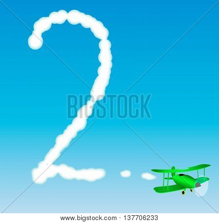 The plane draws a number in the sky. Two