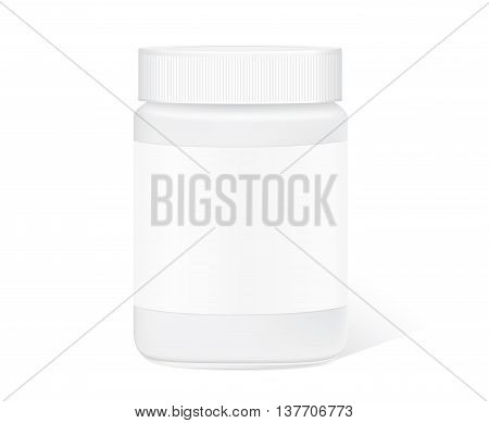 Glass jar with clear label isolated on white background for packaging design template of any product.