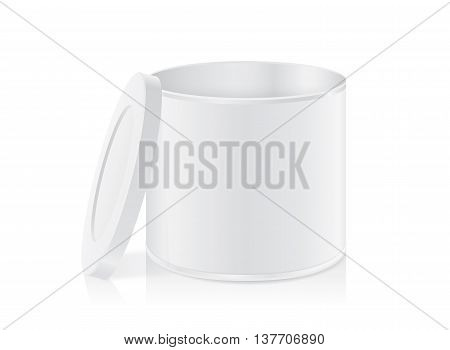 White tin can open lid isolated on white background. Packaging template for food product and other.