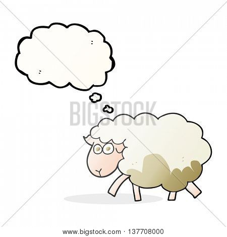 freehand drawn thought bubble cartoon muddy sheep
