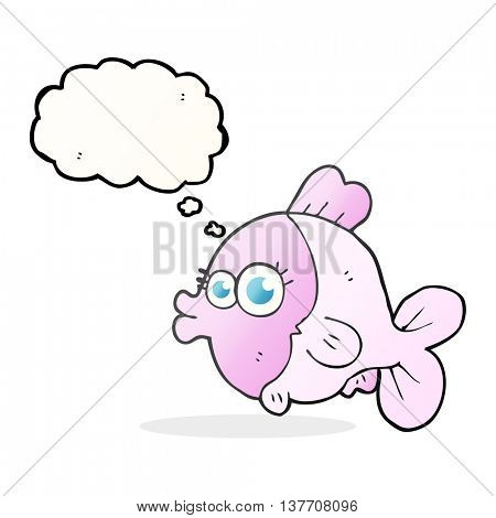 funny freehand drawn thought bubble cartoon fish with big pretty eyes