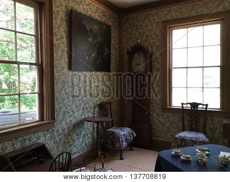 STURBRIDGE, MA - JUN 26: Salem Towne House at Old Sturbridge Village in Sturbridge, Massachusetts, as seen on Jun 26, 2016. It is a living museum which re-creates life in rural New England during the 1790s through 1830s.