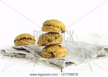 Pumpkin scones with dried fruit for breakfast