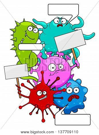 Set of epidemic colorful evil viruses with tablets and bubbles isolated