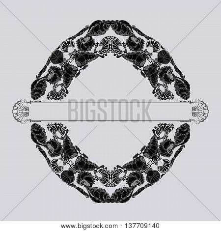 Decorative vintage marine pattern. Shells and waves in doodle style. Outline drawing frame  for greeting cards and invitations. Vector illustration of black and white grey background.