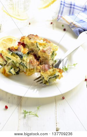 Chicken and vegetable casserole, selective focus, vertical