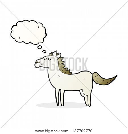 freehand drawn thought bubble cartoon horse