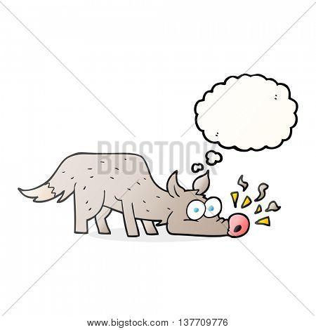 freehand drawn thought bubble cartoon dog sniffing