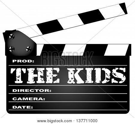 A typical movie clapperboard with the legend THE KIDS isolated on white.