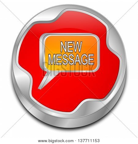 red new Message Button - 3D illustration