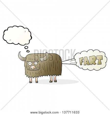 freehand drawn thought bubble cartoon hairy cow farting