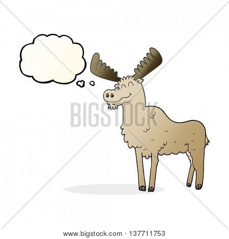 freehand drawn thought bubble cartoon moose