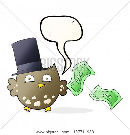 freehand drawn speech bubble cartoon wealthy little owl with top hat