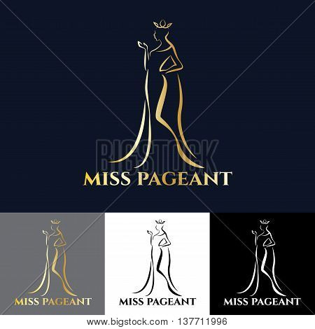 Gold miss lady logo for pageant vector art design