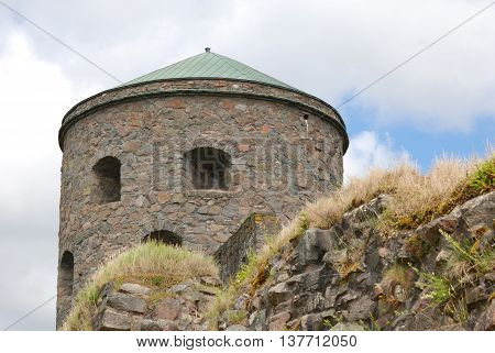 Tower Fars Hatt at Bohus Fortress, Nordic historic site, more than 700 years old, unsuccessfully besieged several times