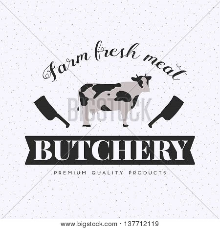 Set of butchery logo templates. Farm animals with sample text. Retro styled farm animals silhouettes collection for groceries, meat stores, packaging and advertising. Vector logotype design.