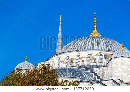 Domes and Minarets of Sultan Ahmed Mosque in Istanbul city Famous historical building Example of Middle Eastern Muslim Architecture