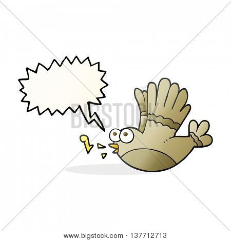 freehand drawn speech bubble cartoon singing bird