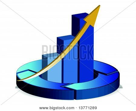 pie and bar blue business chart illustration isolated over white