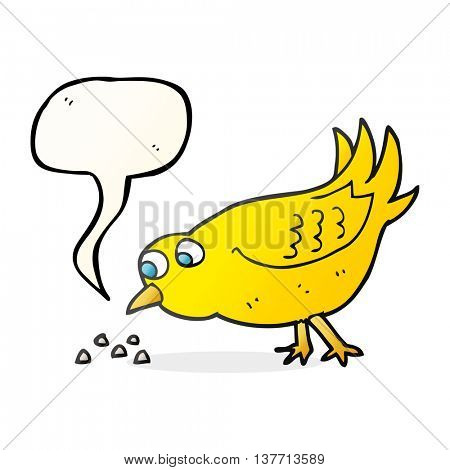 freehand drawn speech bubble cartoon bird pecking seeds