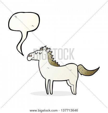 freehand drawn speech bubble cartoon horse