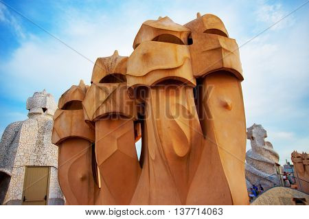 Chimney And Tourists At Casa Mila Building