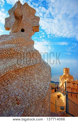 Chimney And Tourists In Casa Mila Building