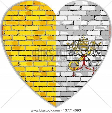 Flag of Vatican City on a brick wall in heart shape - Illustration, Flag of the Holy See on brick textured background,  Flag of the Papal States,  Abstract grunge mosaic vector