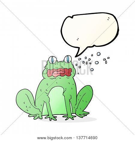 freehand drawn speech bubble cartoon burping frog