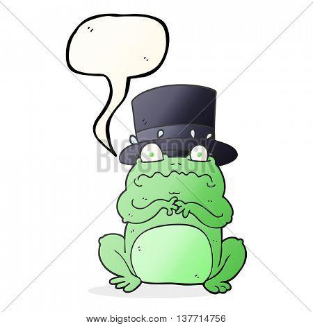 freehand drawn speech bubble cartoon wealthy toad