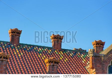 Mosaic Roof Of Hospital De Sant Pau In Barcelona