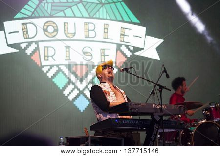 Rimetea (Torocko), Romania - July 2, 2016: The SOERII&POOLEK hungarian band performing at the Doublerise festival, the first multi art festival from Transylvania on July2, 2016