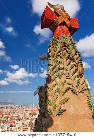 Panoramic View And Cross On Top Of Sagrada Familia In Barcelona