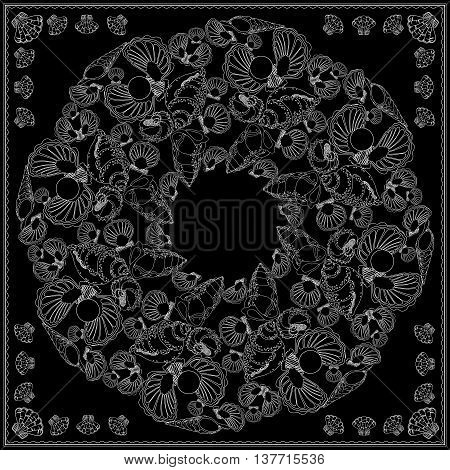 Black and white bandana square pattern design for print on fabric. Kerchief or neck scarf style. Mandala vector illustration with  shells and waves.