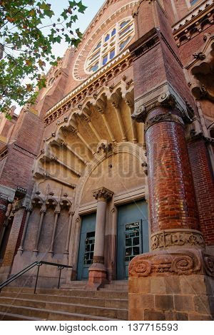 Portal Of Church Of Hospital De Sant Pau In Barcelona
