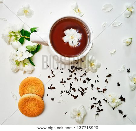 Tea Cup With Jasmine Flowers And Cookies On White Background