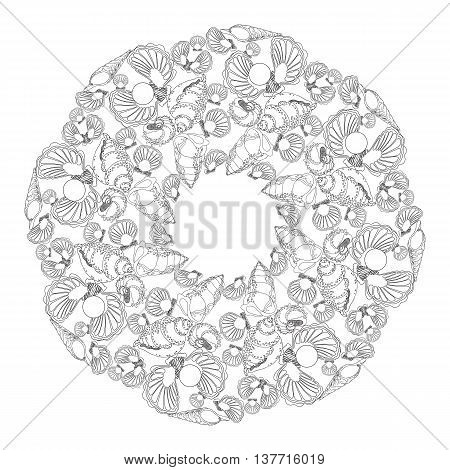 Hand drawn vector ornamental mandala for coloring with shells  and waves. Template for invitation or greeting card. Circle pattern on white background.