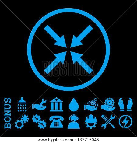 Center Arrows vector icon. Image style is a flat pictogram symbol inside a circle, blue color, black background. Bonus images are included.