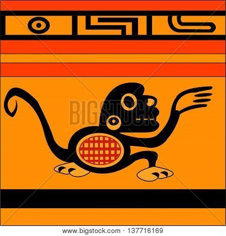 Monkey. Ethnic pattern of American Indians: Aztecs, Mayans, Incas. Vector illustration.