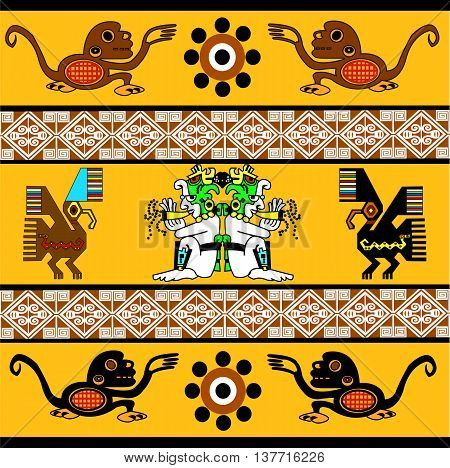 Monkey, eagle, sun and man playing the flute. Ethnic pattern of American Indians: Aztecs, Mayans, Incas. Vector illustration.