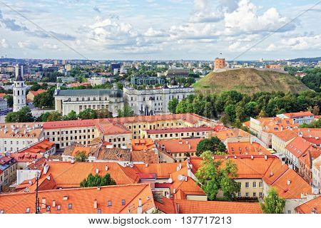 Upper Castle And Cathedral Square In Vilnius In Lithuania
