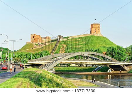 Upper Castle And Neris River At Mindaugas Bridge