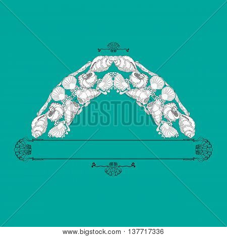 Hand drawn vector ornament  with  shells and decorative elements on aquamarine background. Template for invitation or greeting card.